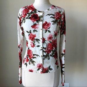 Rose floral printed cardigan sweater